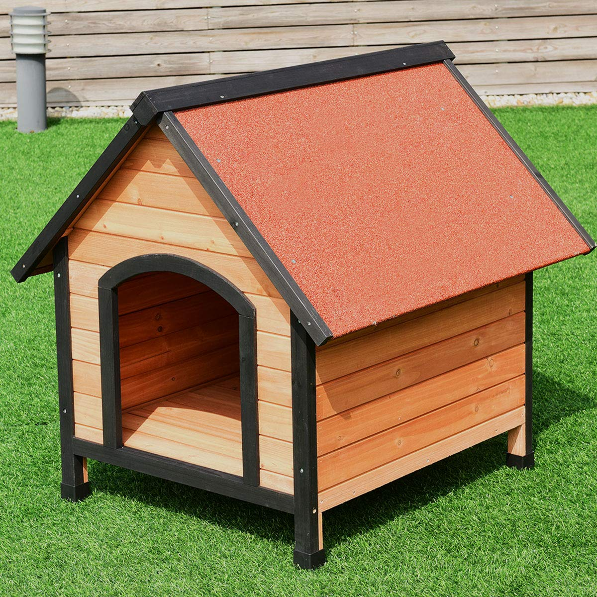 Large Tangkula Pet Dog House Outdoor Weather Waterproof Pet House Wood Pet Kennel Natural Wooden Dog House Home with Reddish Brown Roof 3 Size (S M L) (Large)
