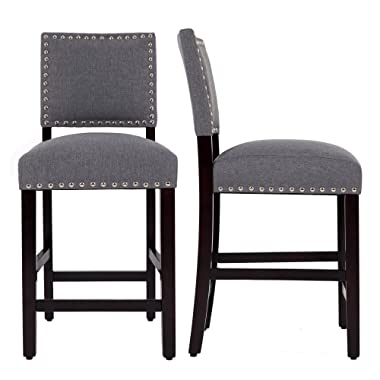 DAGONHIL 24'' Counter Height Bar Stools with Solid Wood Legs-Set of 2 (Gray)