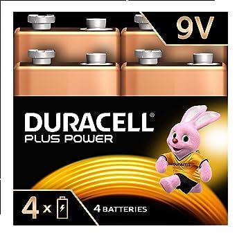 Duracell Plus Power Type 9 V Alkaline Batteries, Pack of 4