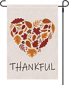 Keniot Thankful Garden Flag Burlap Autumn Leaf Heart Thanksgiving Garden Flag, Double Sided Happy Fall Harvest Rustic Yard Outdoor Decoration, 12.5 x 18.5 inch
