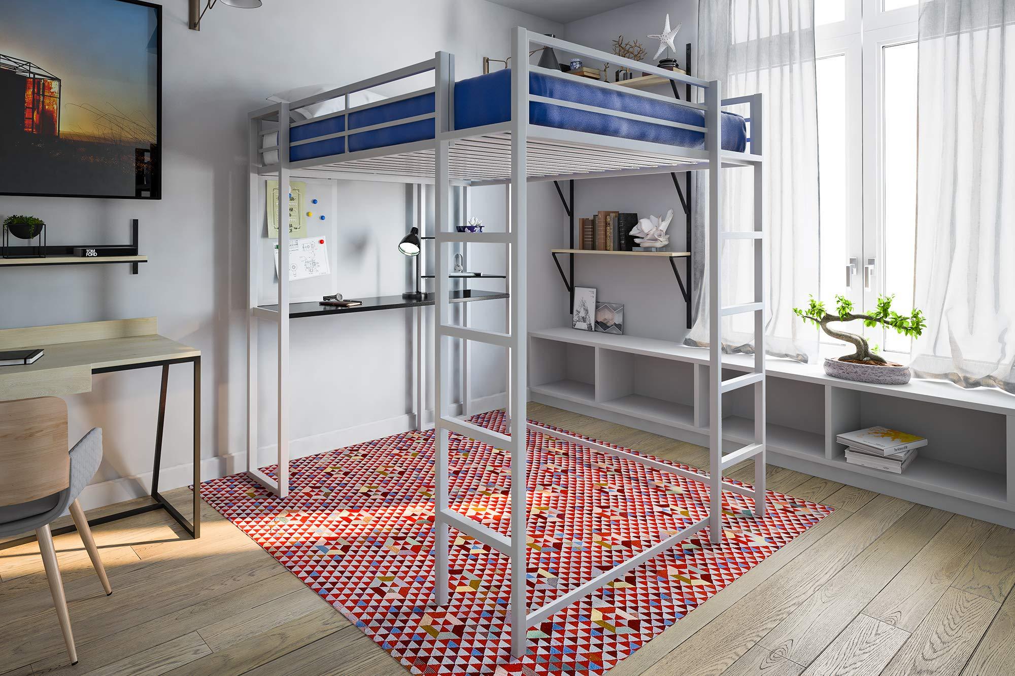 Student Loft Bed Frame W Desk For Kids Teens Adults Full
