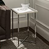 Walker Edison Furniture Company Modern Square Side End Accent Table Living Room, Marble/Chrome