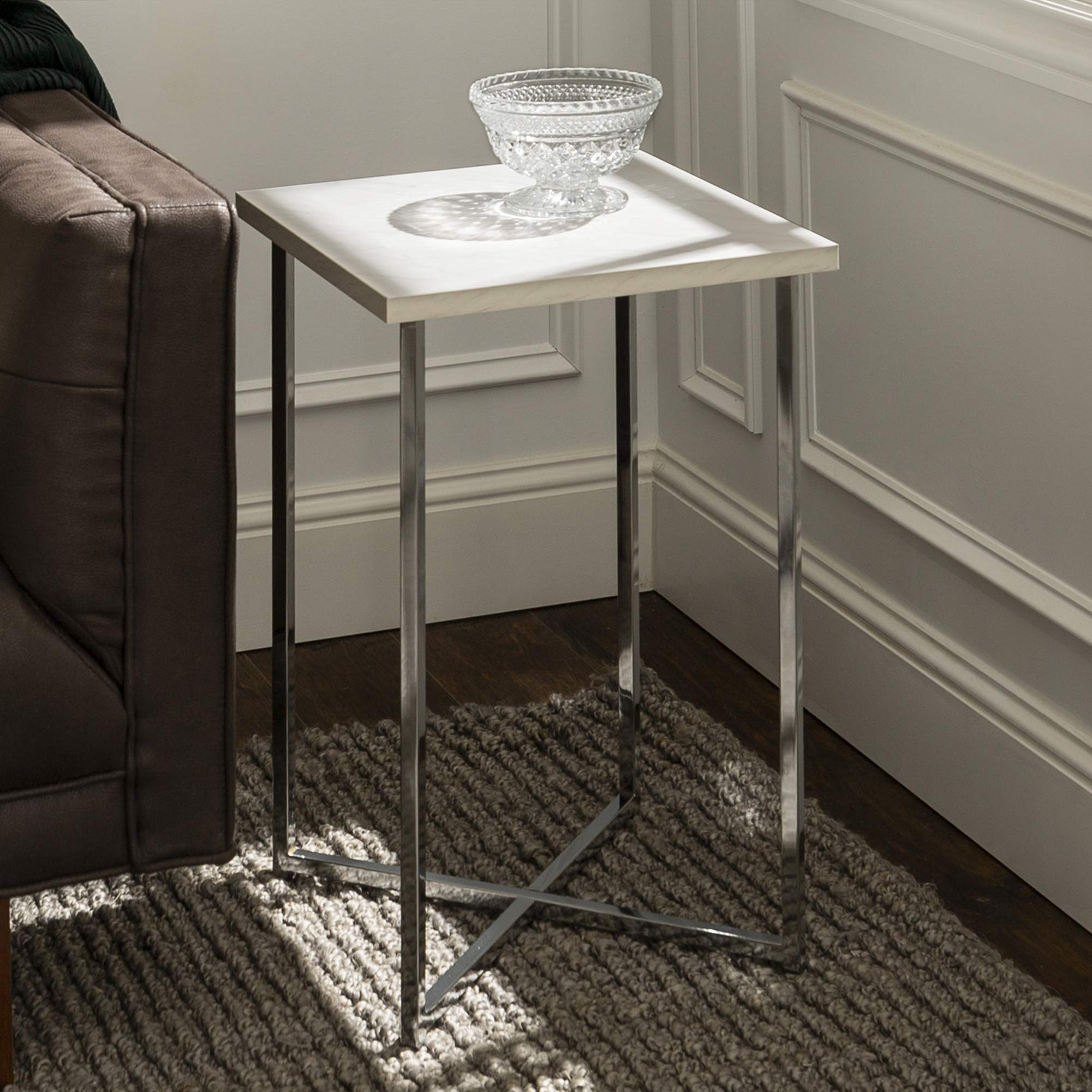 WE Furniture Modern Square Side End Accent Table Living Room, 16 Inch, White Marble, silver by WE Furniture