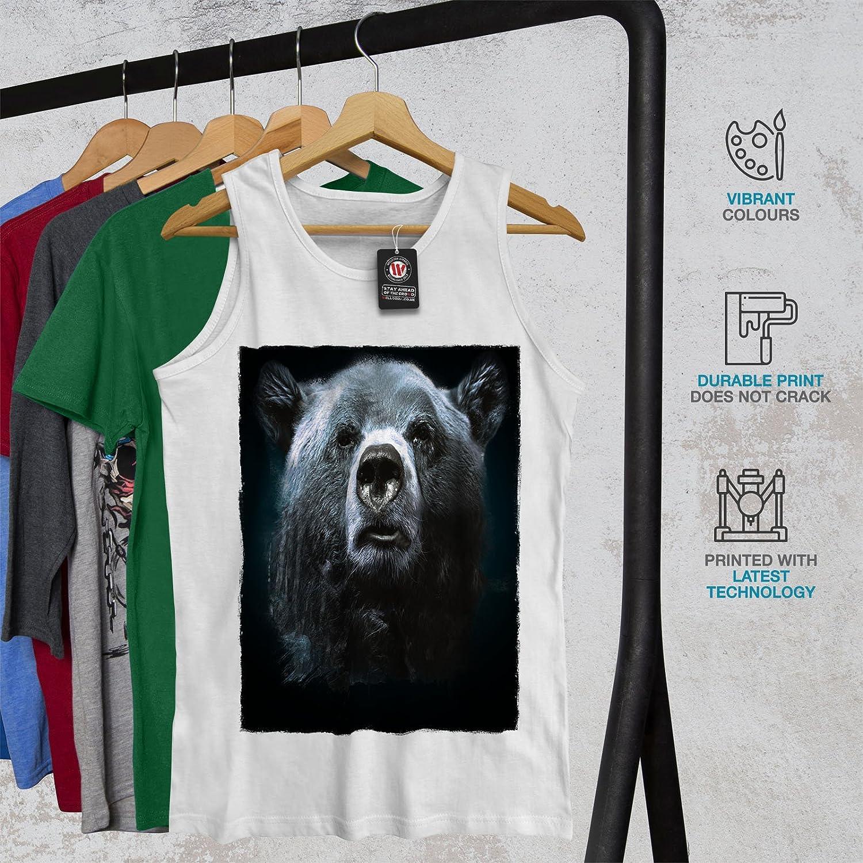 Funny Fit Lifestyle Sports Shirt Wellcoda Wild Animal Bear Beast Mens Tank Top