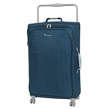 "IT Luggage 31.5"" World's Lightest 8 Wheel Spinner, Ashes with Vapor Blue Trim"