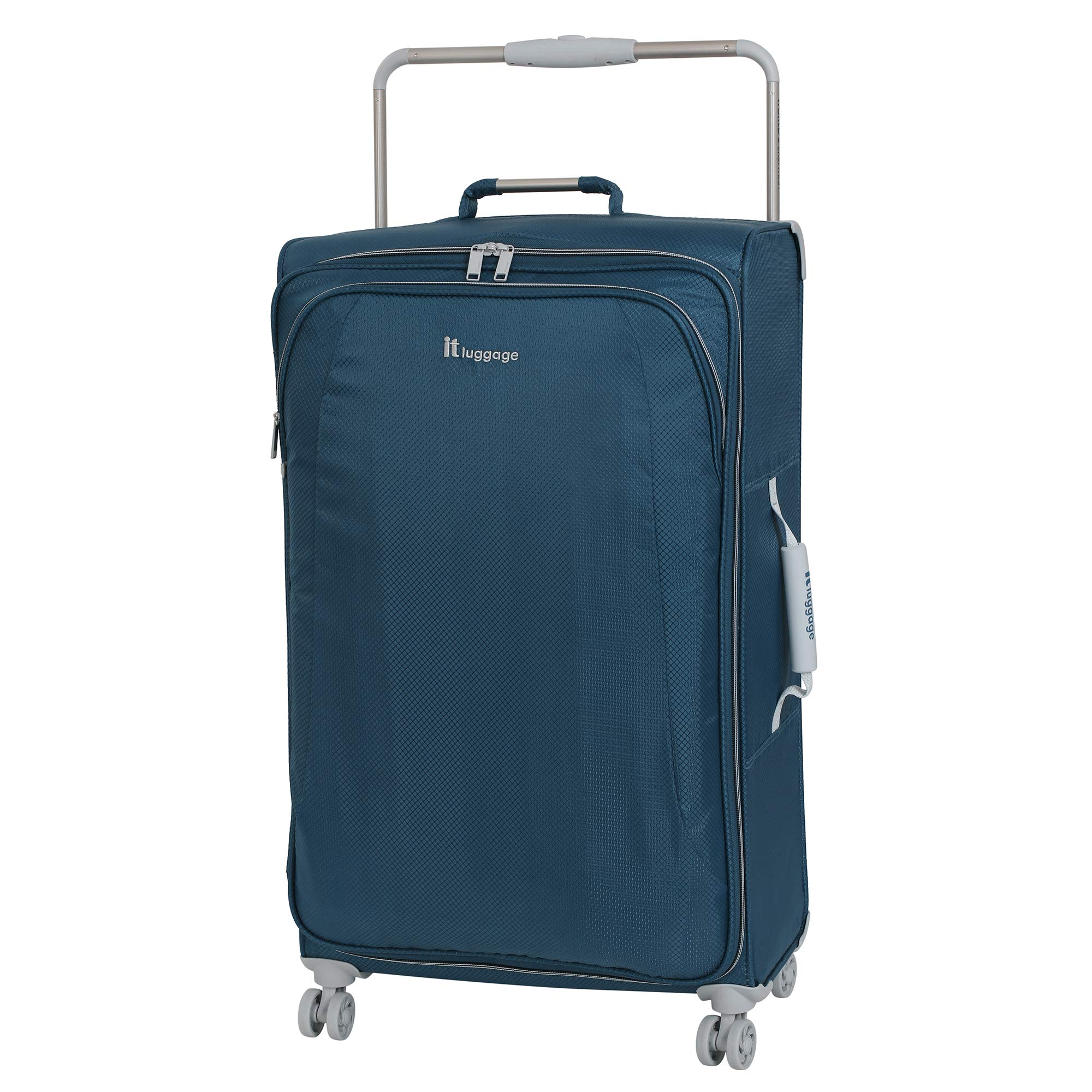 IT Luggage 27.6'' World's Lightest 8 Wheel Spinner, Ashes with Vapor Blue Trim
