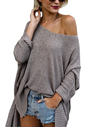 01972cb8541c HOTAPEI Womens Sweaters Oversized Off Shoulder Loose Knit High low Long  Slit Side V Neck Pullover Sweaters Coffee XL at Amazon Women s Clothing  store