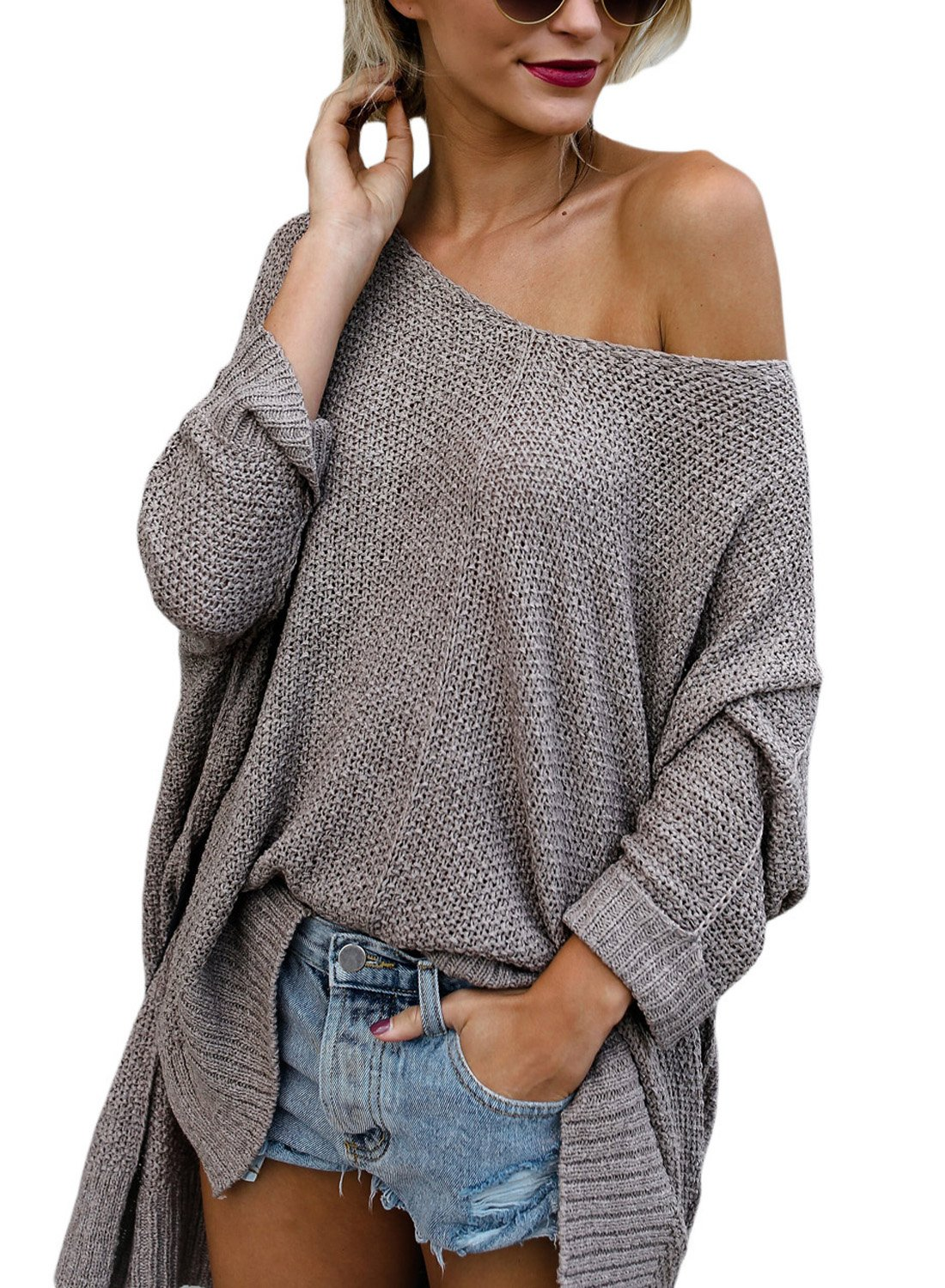 ZKESS Womens Long Sleeve Blouse Casual Loose Knit Pullover Sweater Tops Coffee M