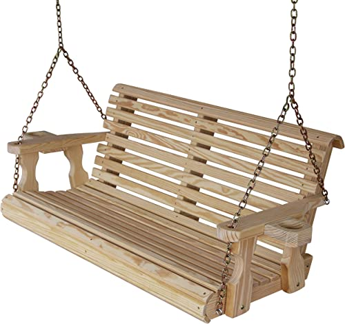 Amish Heavy Duty 800 Lb Roll Back 4ft. Treated Porch Swing