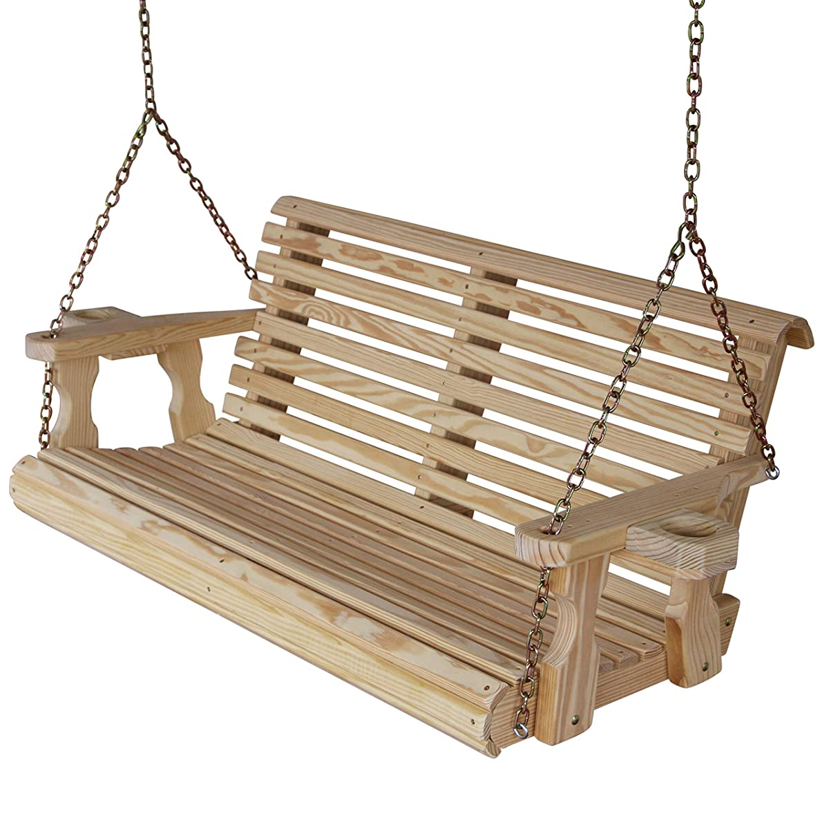 CAF Amish Heavy Duty 800 Lb Roll Back 5ft. Treated Porch Swing With Cupholders