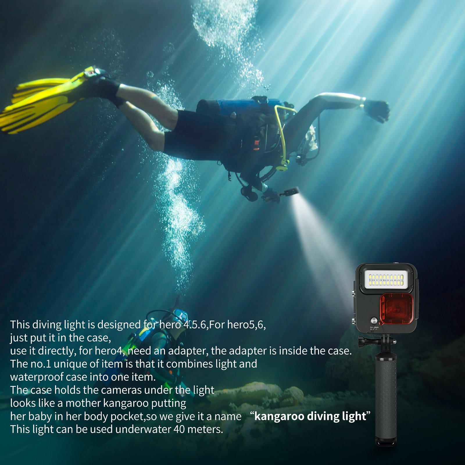 SHOOT 1000LM Kangaroo Diving Light for GoPro HERO7 Black/HERO6/HERO5/HERO4/HERO(2018),Waterproof Case 30m (98 feet), LED Underwater Scuba Fill Light,Removeble Red Filter by SHOOT (Image #4)