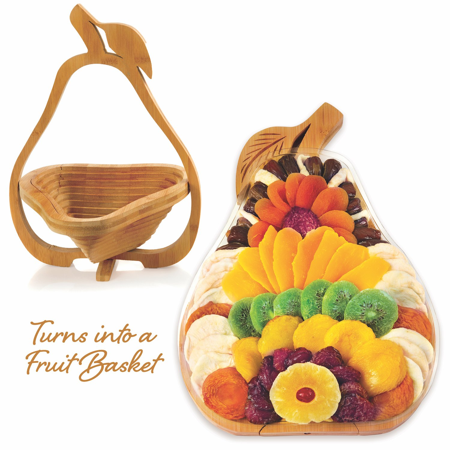 Gourmand Gifts Large Premium Dried Fruit Gift Basket Pear Tray, Multi-Functional Foldable Tray, Trivet and Fruit Basket 31 OZ
