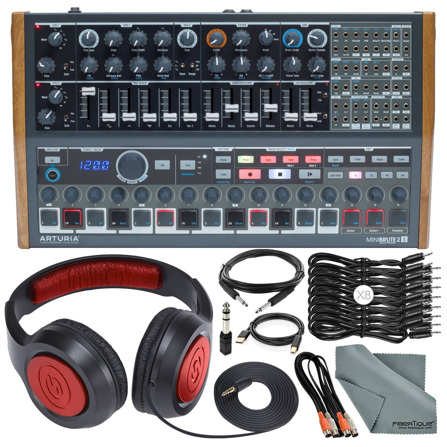 Arturia MINIBRUTE 2S Desktop Semi-Modular Analog Synthesizer/Sequencer w/MIDI & USB and Accessory Bundle with Headphones, 11X Cables, Fibertique Cloth by Photo Savings