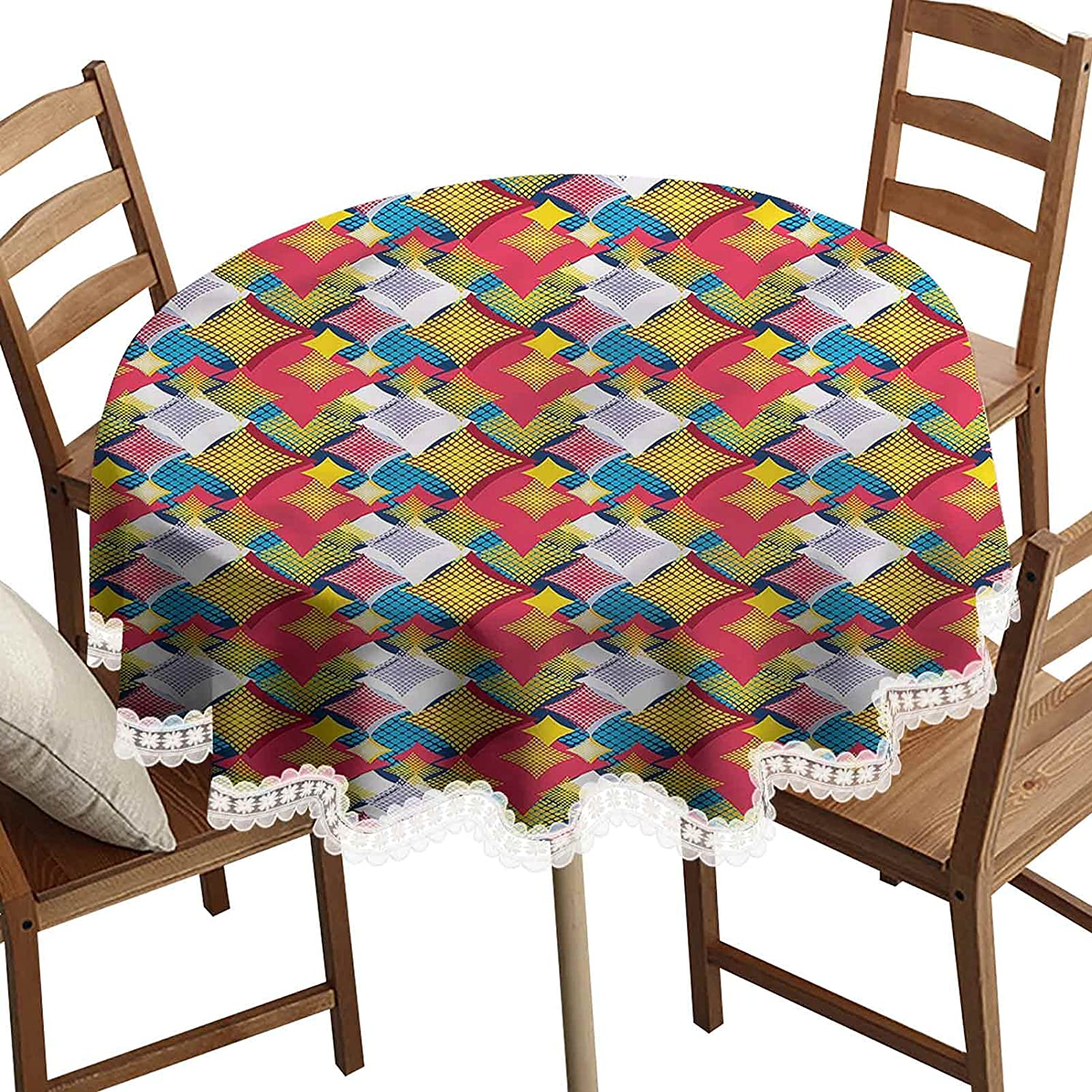 SoSung 3D Printed Round Decorative Tablecloth, Geometric Squares Dots Washable Polyester Lace Edge Table Covers, Diameter 36 Inch, for Birthday Parties, Weddings, Dining Room Tables