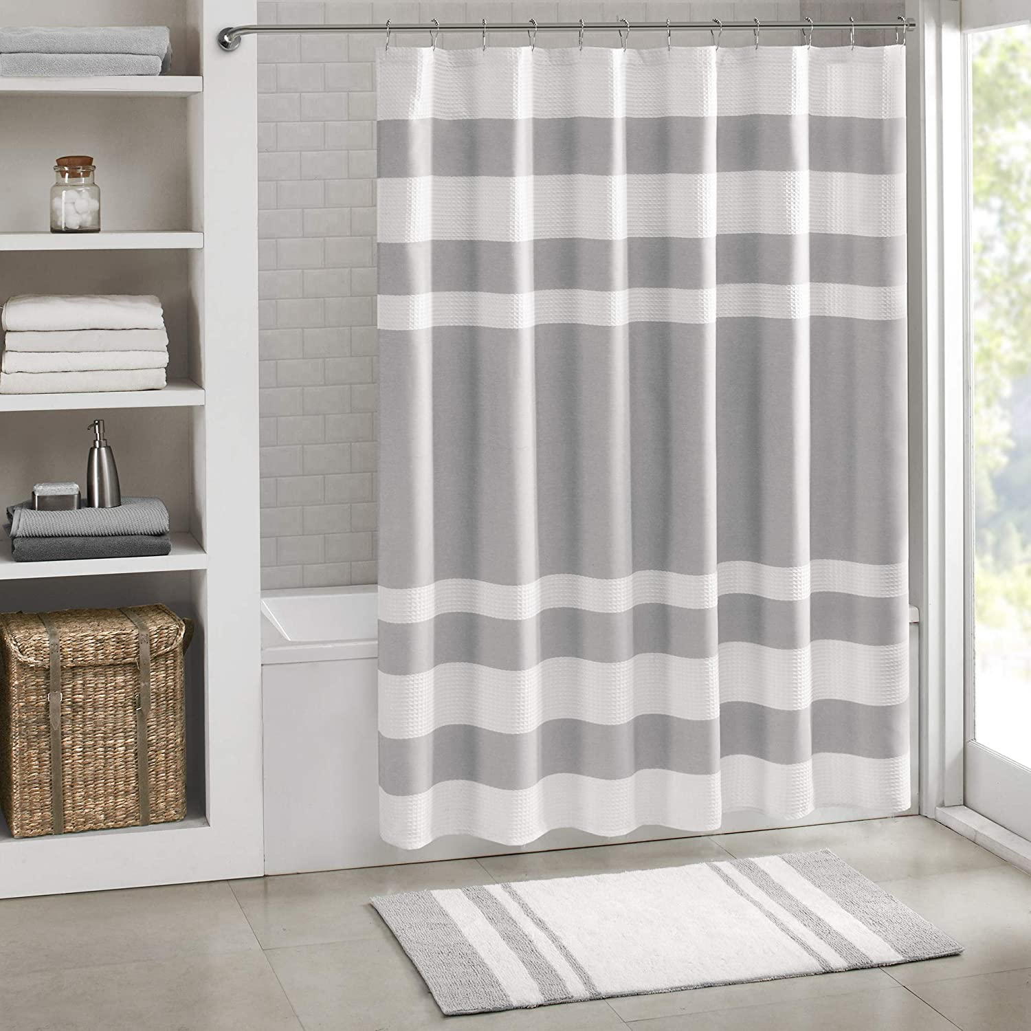 Madison Park Spa Waffle Shower Curtain Pieced Solid Microfiber Fabric with 3M Scotchgard Water Repellent Treatment Modern Home Bathroom Decorations, Standard 72X72, Grey: Home & Kitchen