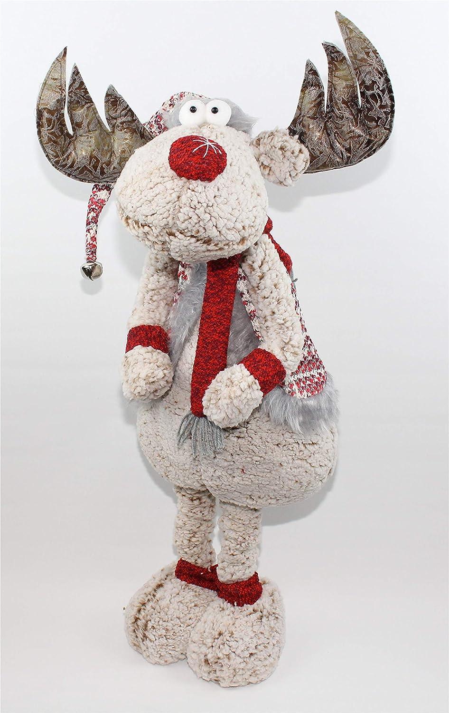 Deko Figur Weihnachtsfigur Stoffelch mit Teleskopbeine h/öhenverstellbar von 64 bis 101 cm gro/ß Weihnachtsdeko XXL Weihnachtselch f/ür Weihnachten
