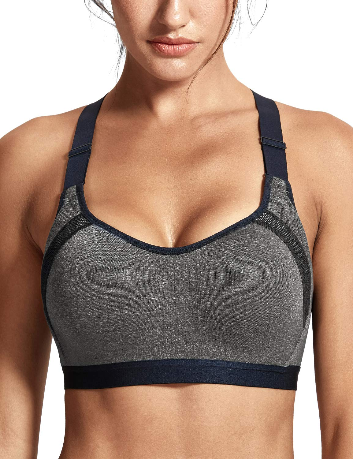 f008574e0b SYROKAN Women s Full Coverage Racerback High Impact Workout Firm Support Padded  Sports Bra Charcoal Heather-Racerback 40B