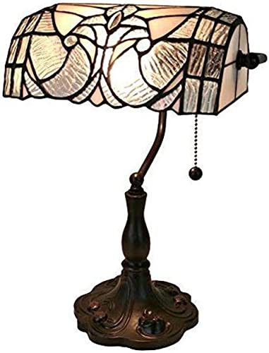 Tiffany Style Table Lamp Banker 13 Tall Stained Glass White Grey Vintage Antique Light D cor Nightstand Living Room Bedroom Handmade Gift AM250TL10 Amora Lighting