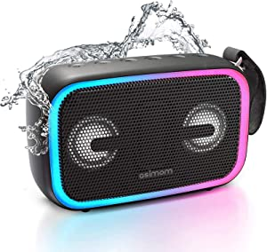 IPX7 Waterproof Bluetooth Speaker,Asimom 28W Portable Outdoor Speakers with Enhanced Bass,Bluetooth 5.0,Wireless Stereo Pairing,12H Playtime,LED Beat-Driven Light-New Version