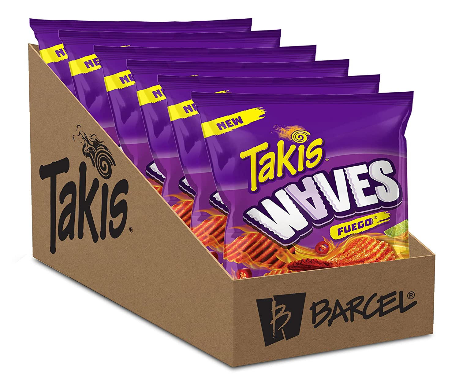 Takis Waves – Fuego Flavor Spicy Potato Chips (Hot Chili Pepper & Lime), 2.5 oz bag, 6 Count