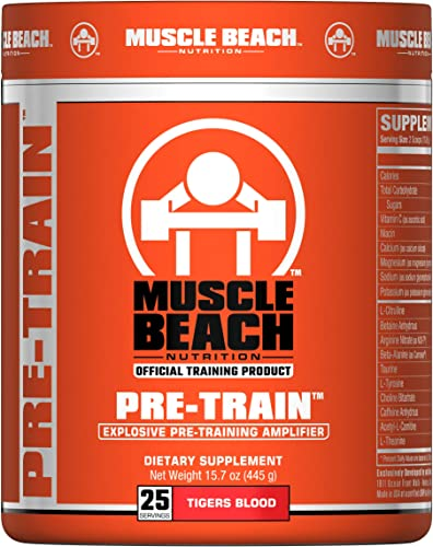Muscle Beach Nutrition Pre-Train 25 Servings Tigers Blood Pre Workout Nitrate Supplement