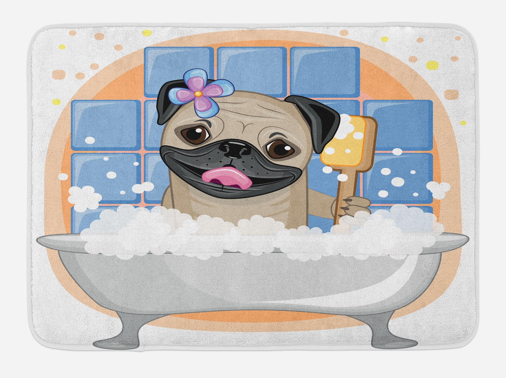 Ambesonne Pug Bath Mat, Caricature of a Dog Having Bath Bubbles Colorful Flower Funny Animal, Plush Bathroom Decor Mat with Non Slip Backing, 29.5 W X 17.5 W Inches, Pale Blue Black Pale Brown