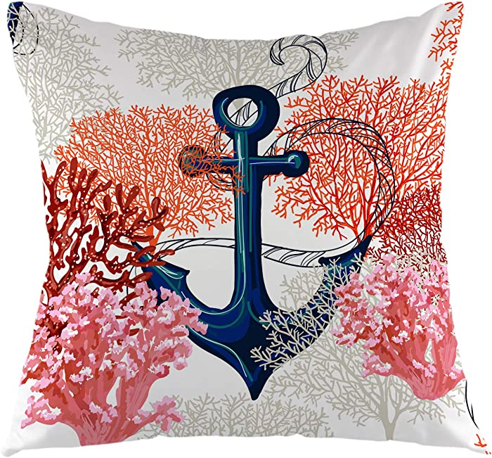 oFloral Anchor Throw Pillow Cover Tropical Corals Pillow Case Square Cushion Cover for Sofa Couch Home Car Bedroom Living Room Decor 18