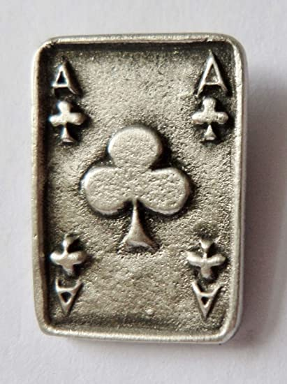 1000 Flags Miniature Ace of Clubs Playing Card Pewter Pin Badge LP1230