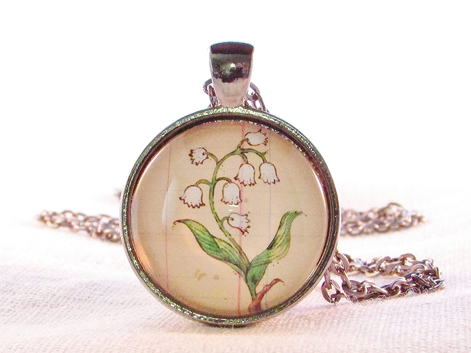 Lily of the Valley May Flower of the Month Round Glass Pendant Flower Necklace
