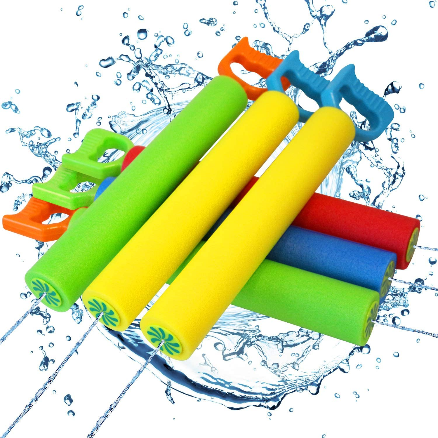Comken 6 Pack Water Guns for Kids, Foam Water Blaster Squirt Guns,Easy to Carry,Perfect Outdoor Play Game Toys for Summer in Garden,Swimming Pool or Beach: Toys & Games