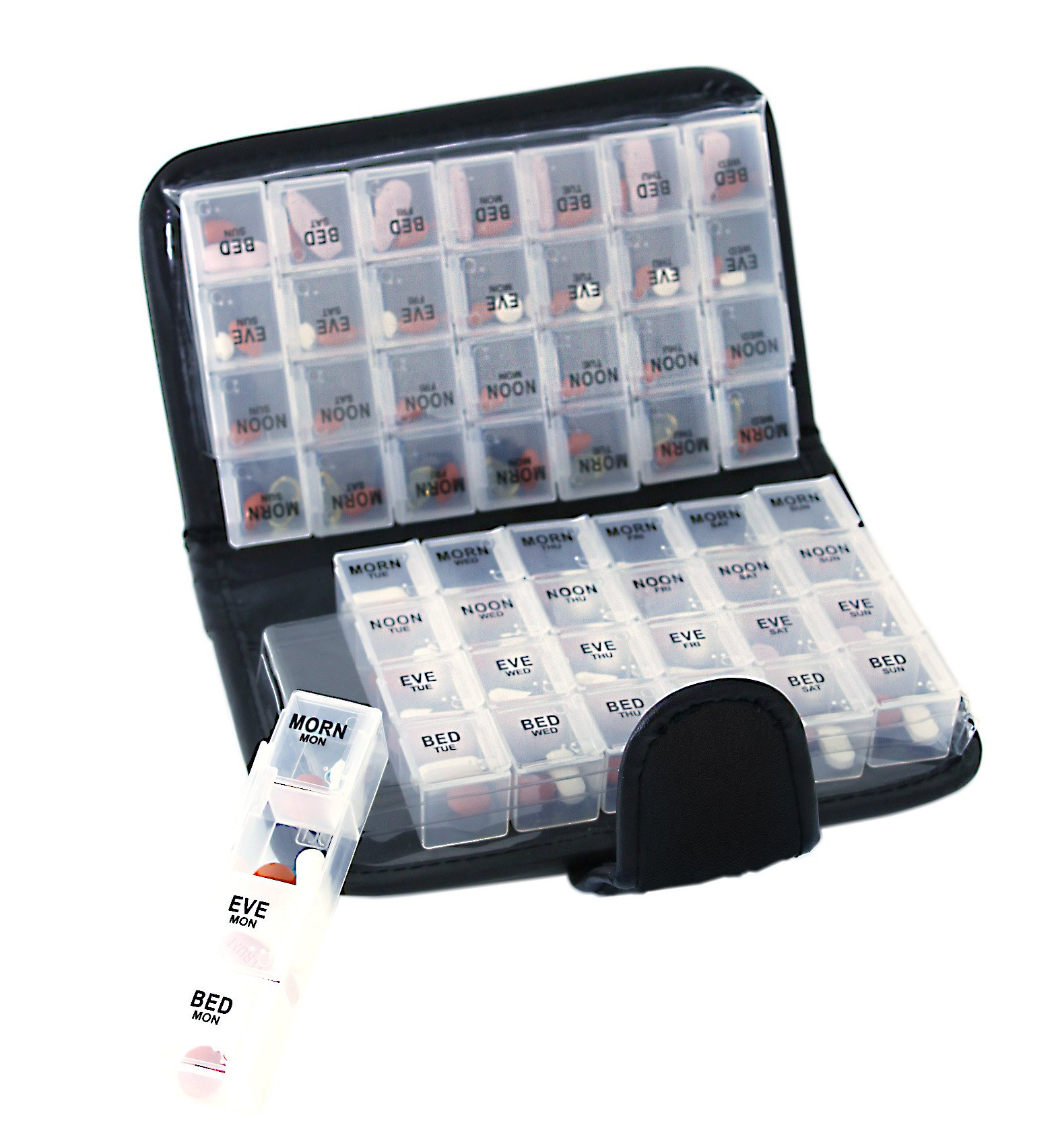 14 Day Pill & Vitamin Organizer 2 Weeks AM/PM 4 Doses a Day Travel Case Handy and Portable