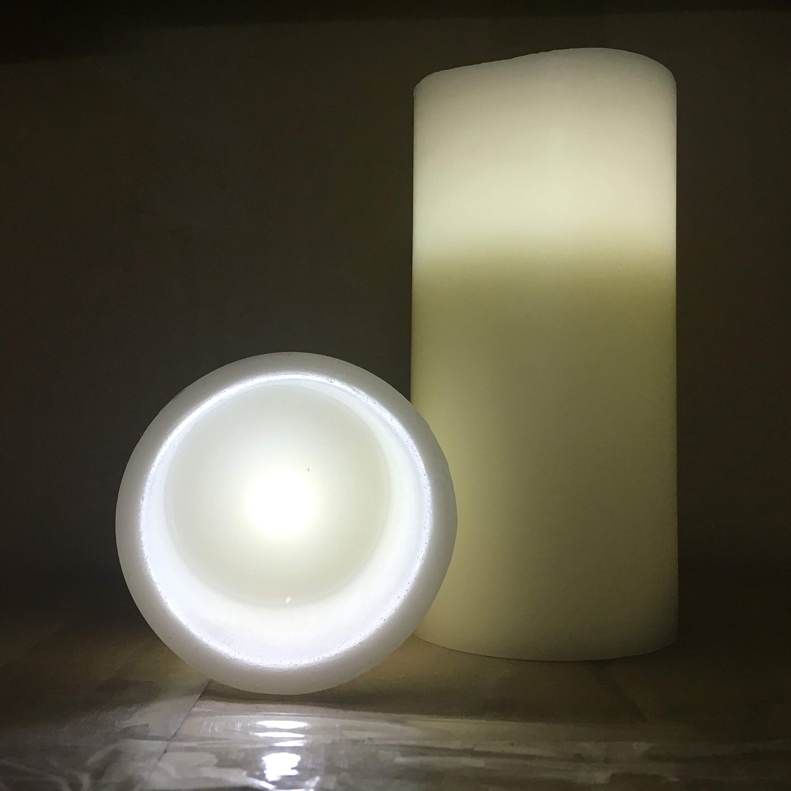 Outdoor Flameless Pillar Candles Pair 6'', Aimetech Real Wax Battery Operated Flickering LED Candle Light, Warm White Light by Aimetech (Image #2)