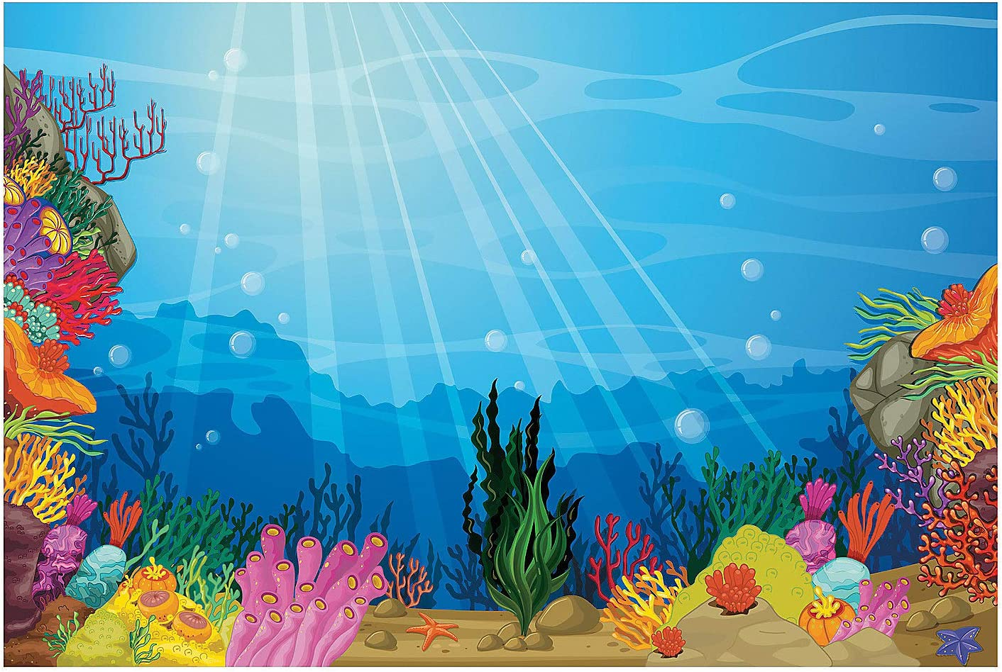 Amazon Com Fun Express Vbs Under The Sea Backdrop Banner Party Decor Wall Decor Preprinted Backdrops 3 Pieces Toys Games