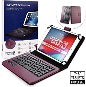 Cooper Infinite Executive Keyboard Case for 7-8 inch Tablets | Universal Fit | 2-in-1 Bluetooth Wireless Keyboard & Leather Folio Cover (Purple)