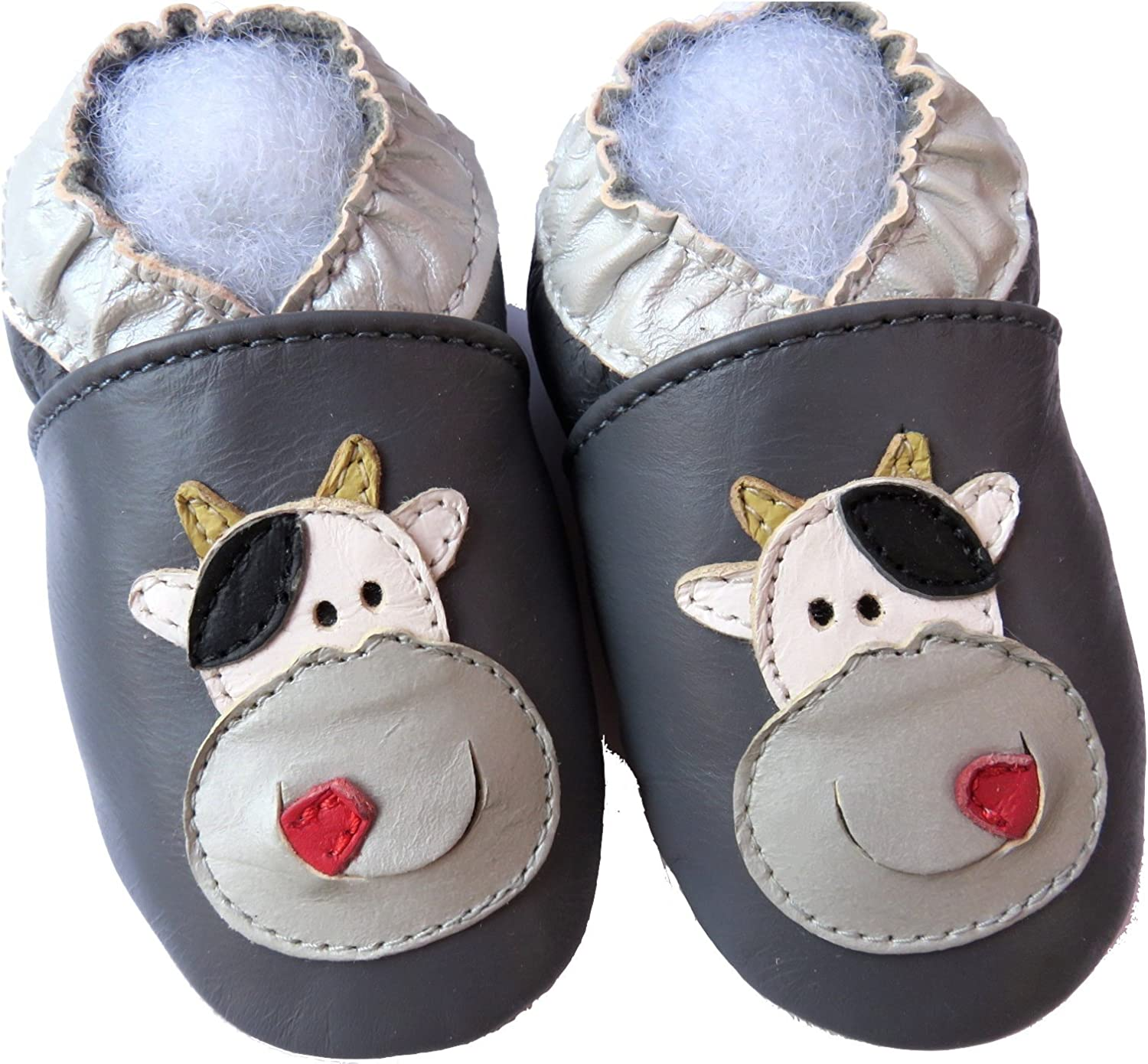Minishoezoo soft sole baby leather shoes hippo gray 6-12m  walking free shipping