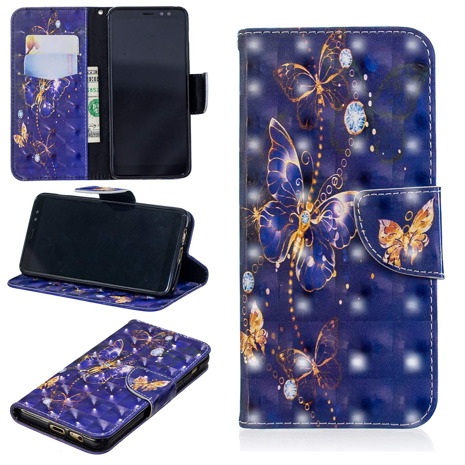 A530 Wallet Case with Screen Protector QFUN for Samsung Galaxy A8 2018 Glitter 3D Pattern Cube Magnetic Closure Kickstand Leather Phone Case with Card Holder Shockproof Protective Flip Cover