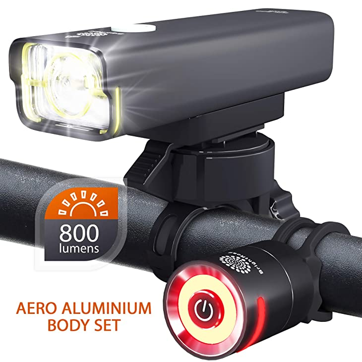 BrightRoad Rechargeable 800 Lumens Bike Light Front and Back Bicycle Lights