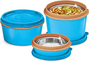 MILTON Bento Lunch Box Set - 3 MICROWAVEABLE Stainless Steel Meal Prep Containers, Food Storage Boxes w/Leak Proof Lids For Men,Women,Kids - Blue