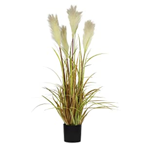 "NCYP 35.4"" Tall Artificial Plants for Home Decor Indoor Natural Large Faux Fake Potted Plants with Black Planter Pot Office Floor Decorative Reed Grasses Gift"