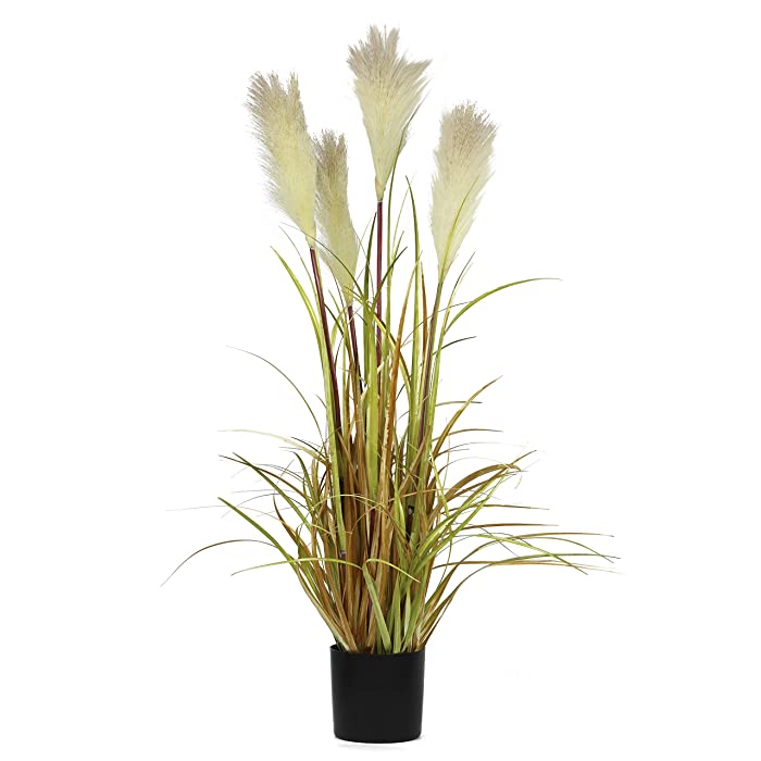 """NCYP 35.4"""" Tall Artificial Plants for Home Decor Indoor Natural Large Faux Fake Potted Plants with Black Planter Pot Office Floor Decorative Reed Grasses Gift"""