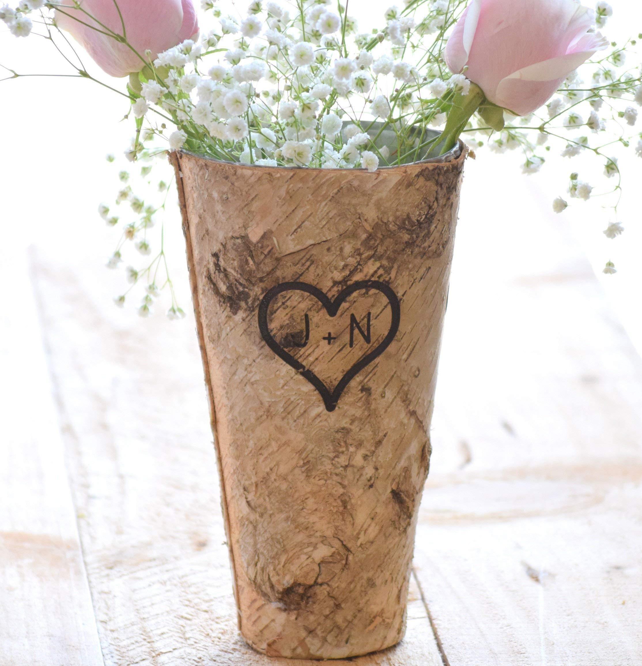 Personalized Birch Vase - Engraved Birch Vase - Wood Planter - Personalized Wedding Gift - 9'' Vase - Birch Bark Vase - Anniversary Gift