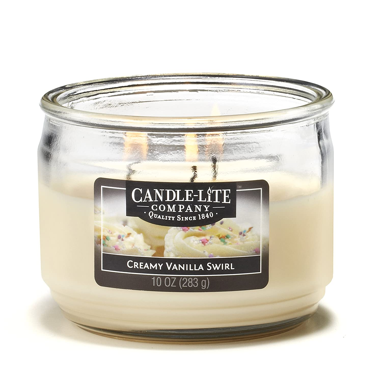 Candlelite Essentials 3 Wick 10-Ounce Creamy Vanilla Swirl Terrace Jar Candle Candle-Lite 1879553