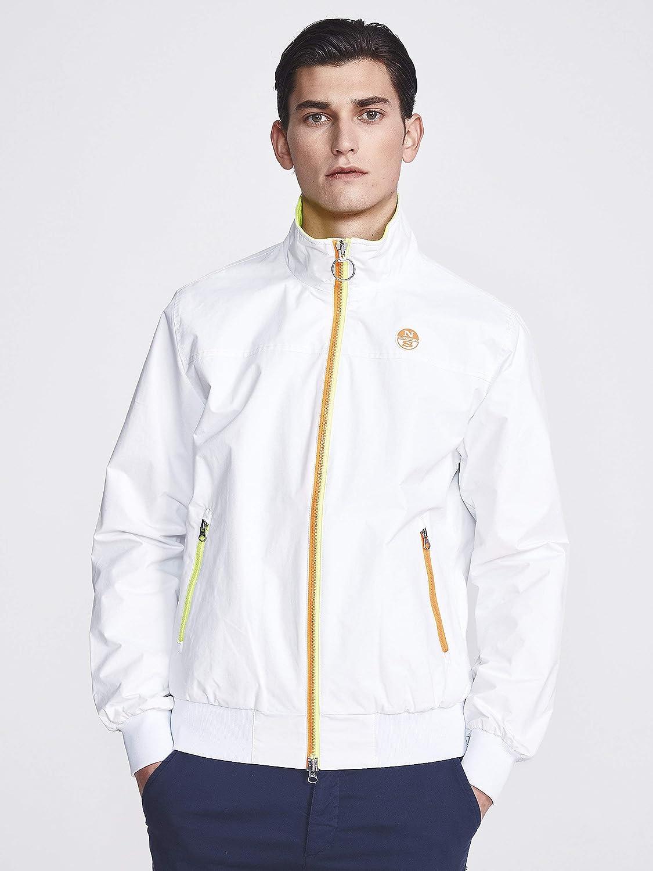NORTH SAILS Sailor Giacca da Uomo in 100% Riciclata Poliammide Sottile Adatto con Il Basamento Collare Tasche Anteriori con Cerniera Blanco