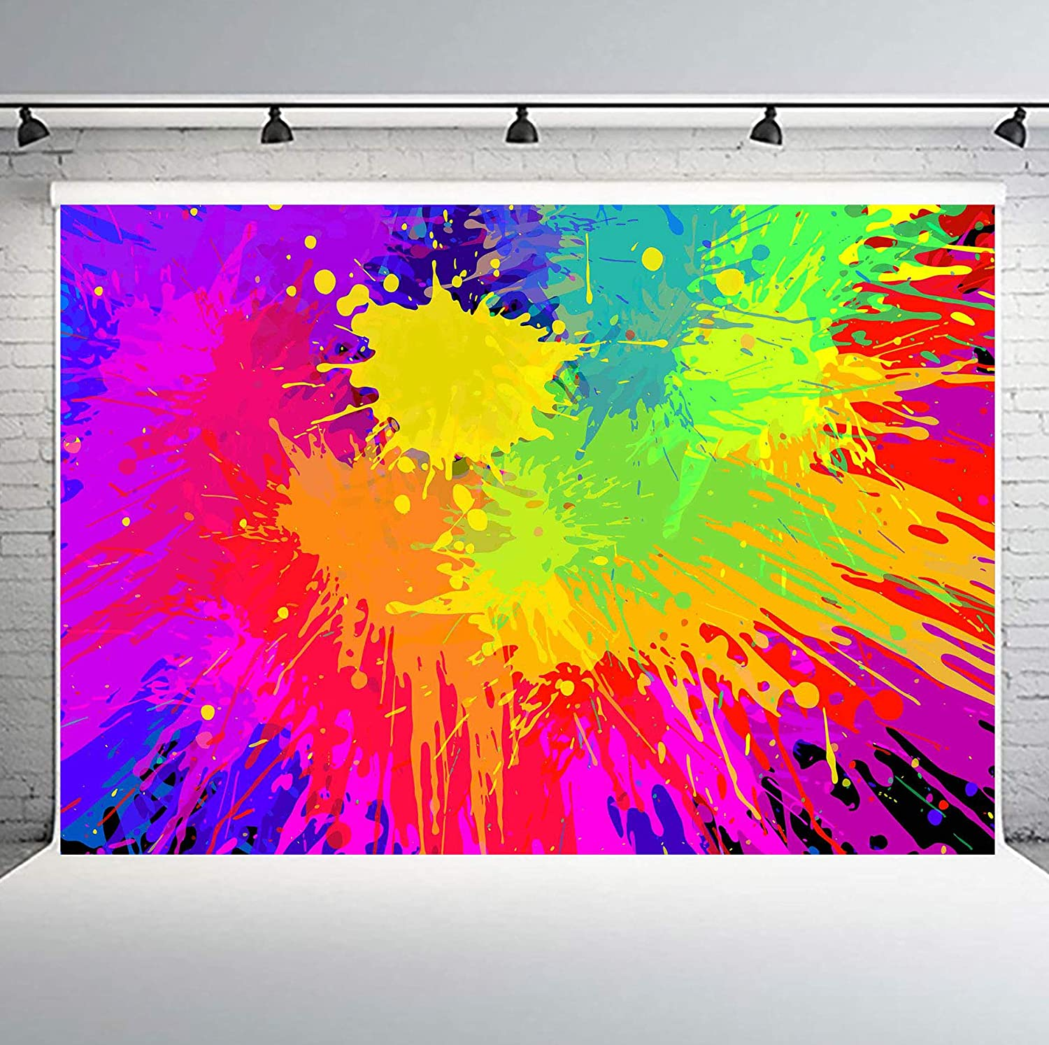 Phmojen Colorful Graffiti Backdrop Abstract Paint Splash Background For Photography Hip Hop Theme Birthday Party Decoration Art Studio Props 10x7ft