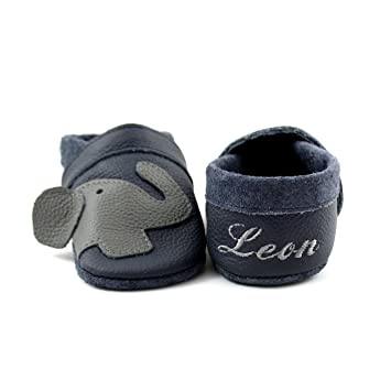 on sale b7228 10ac5 little foot company® 11312 Krabbelschuhe Babyschuhe Lauflernschuhe mit  Namensstickerei Elefant weiches Leder marine 18/19 ca. 9-16 Monate