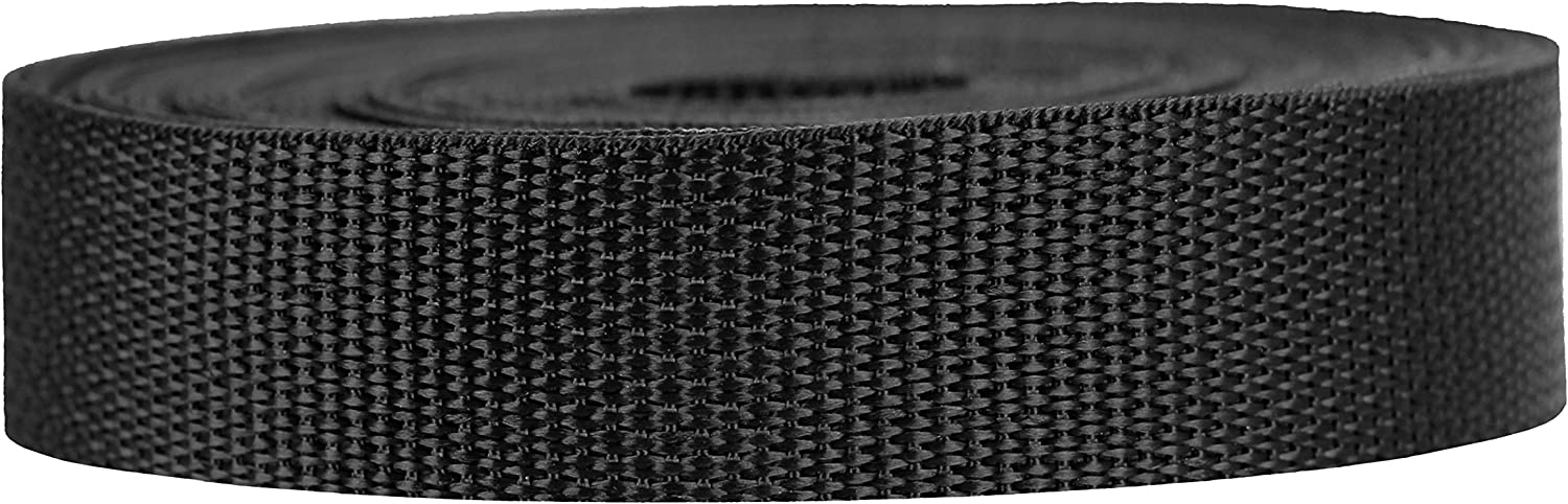 Strapworks Lightweight Polypropylene Webbing - Poly Strapping for Outdoor DIY Gear Repair, Pet Collars, Crafts – 1 Inch by 10, 25, or 50 Yards, Over 20 Colors