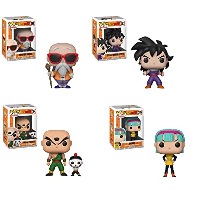 Funko Animation: Pop! Dragon Ball Z Series 4 Collectors Set - Master Roshi with Staff, Gohan, Chiaotzu & Tien, Bulma Toy: Toys & Games