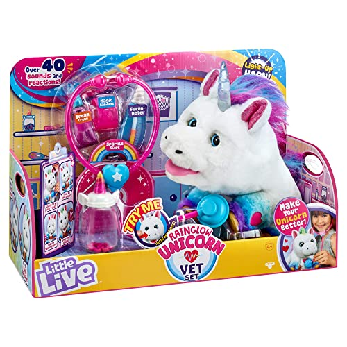 Little Live Rainglow Unicorn Vet Set - Interactive Unicorn Toy