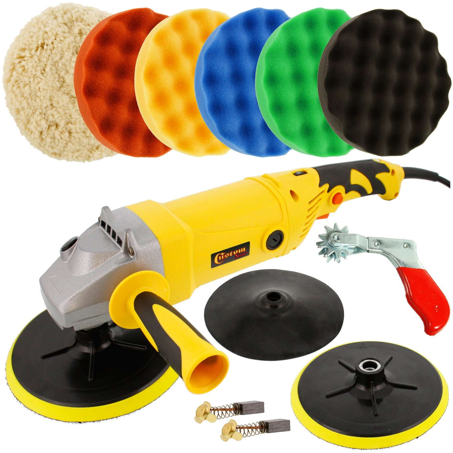 Custom Shop Heavy Duty Variable Speed Polisher with a 6 Pad Buffing and Polishing Kit (5 - 8'' Waffle Foam & 1 - 8'' Wool Grip Pads) - Replacement Set of Motor Brushes - Buffing Pad Cleaning Spur