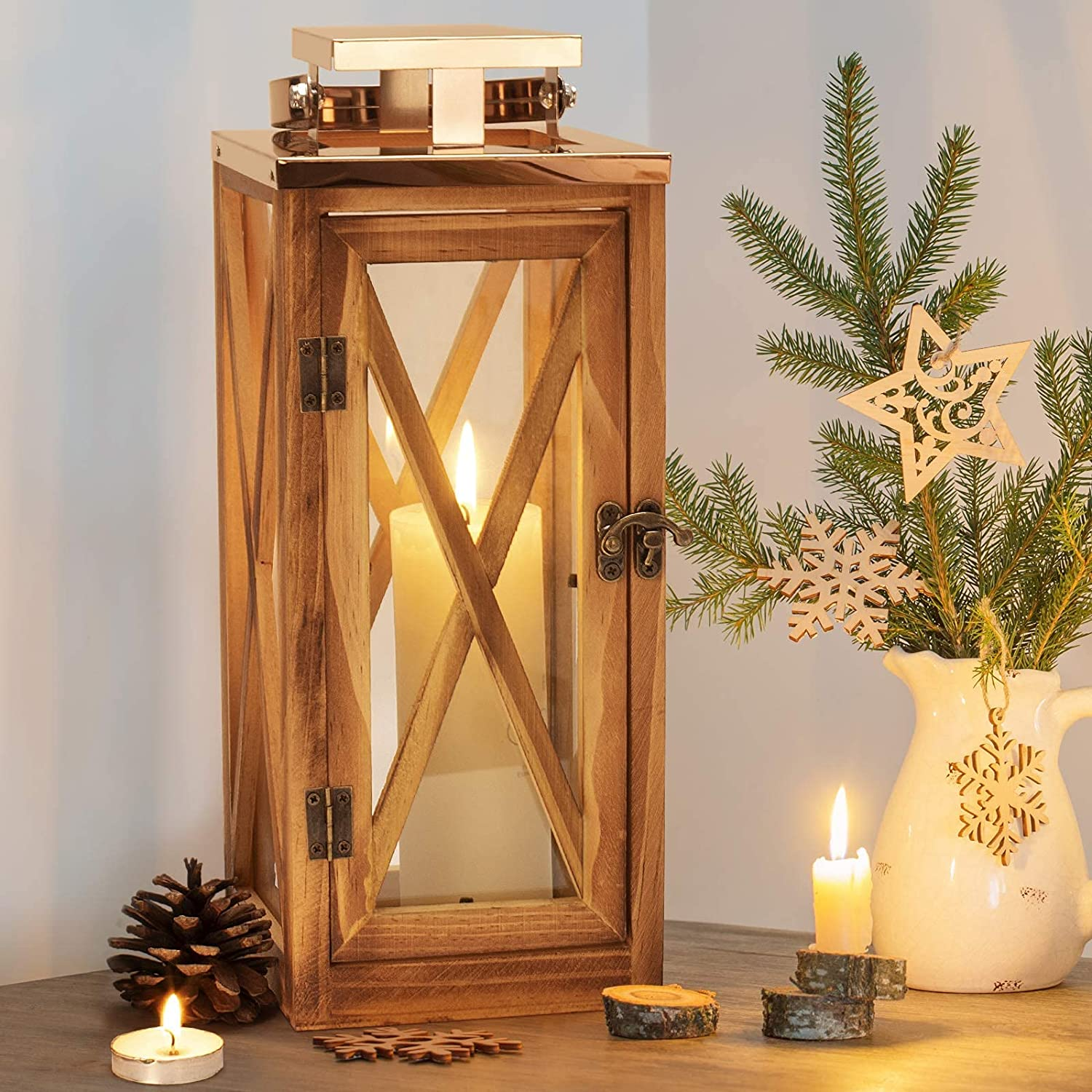 XRKITE Wooden Candle Lantern Decorative, Patio Decor with Stainless and Glass, Hurricane Lantern Holder Decor for Indoor Outdoor, Home, Garden, Wedding, Parties, Relaxing Spa Setting Hanging Lantern